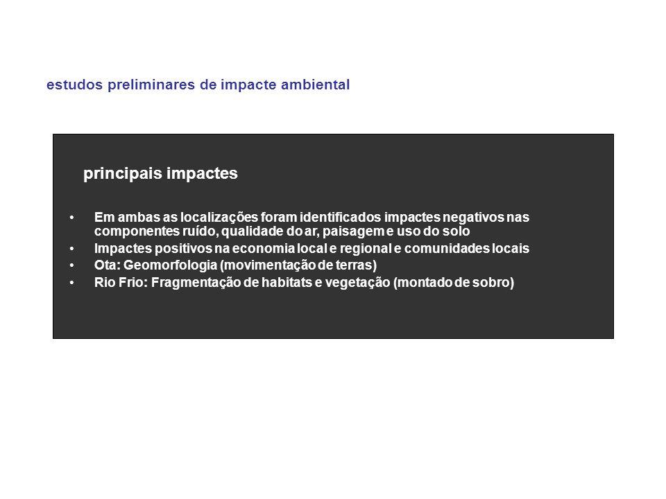 principais impactes estudos preliminares de impacte ambiental