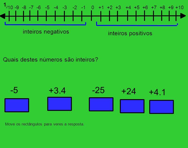 -5 +3.4 -25 +24 +4.1 inteiros negativos inteiros positivos