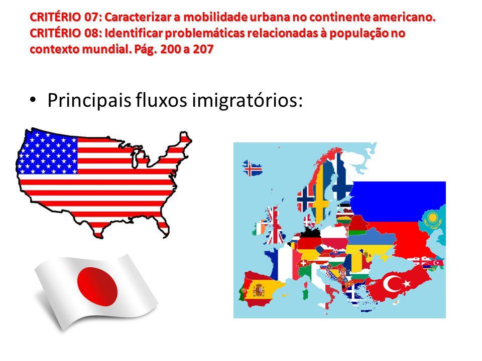 Principais fluxos imigratórios: