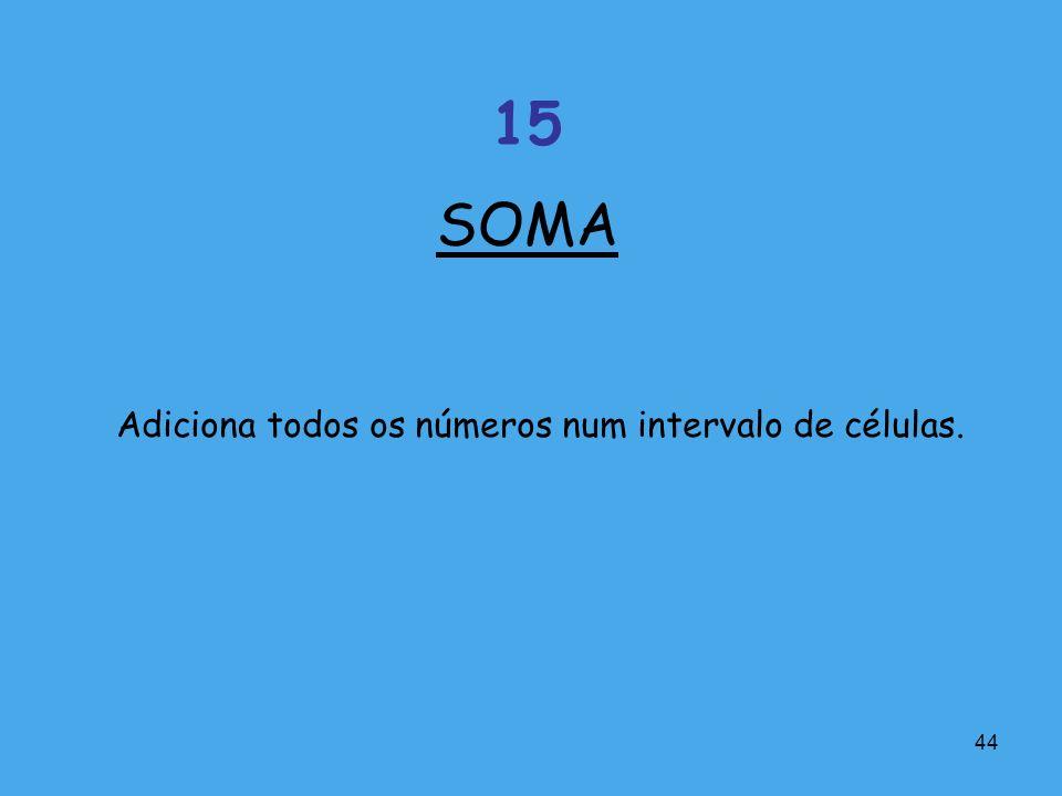SOMA 15 Adiciona todos os números num intervalo de células.