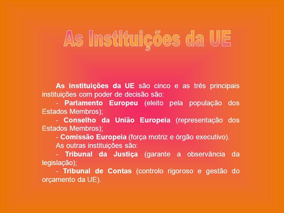 As Instituições da UE As instituições da UE são cinco e as três principais instituições com poder de decisão são: