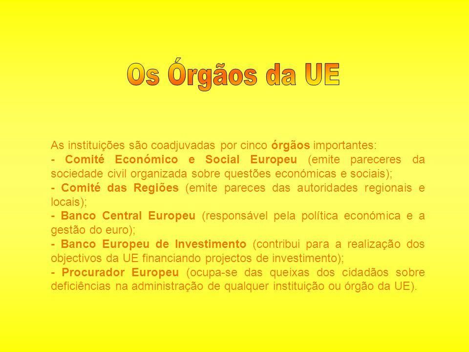 Os Órgãos da UE As instituições são coadjuvadas por cinco órgãos importantes: