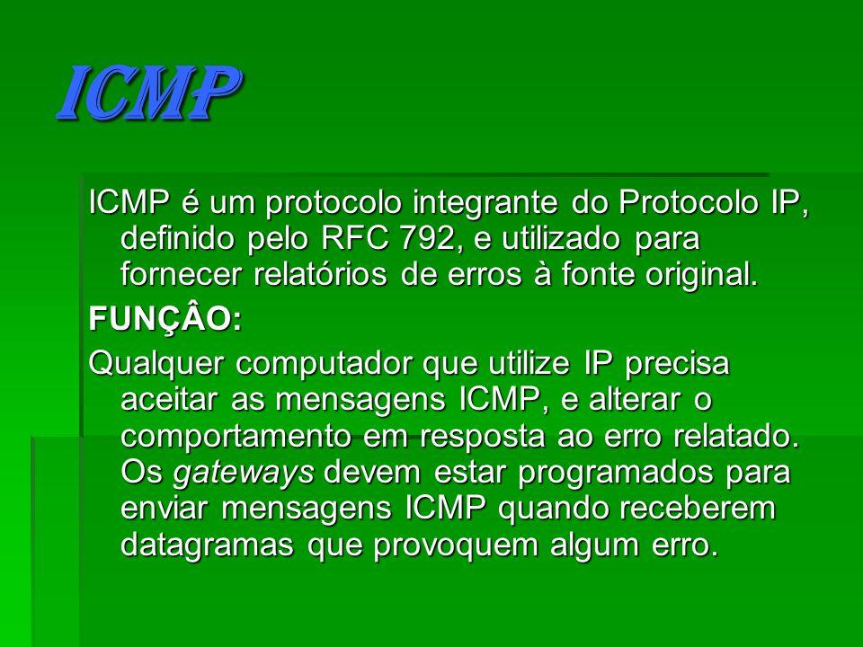ICMP ICMP é um protocolo integrante do Protocolo IP, definido pelo RFC 792, e utilizado para fornecer relatórios de erros à fonte original.