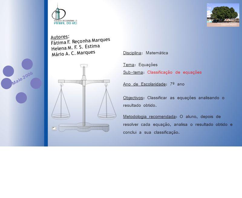Disciplina: Matemática Tema: Equações