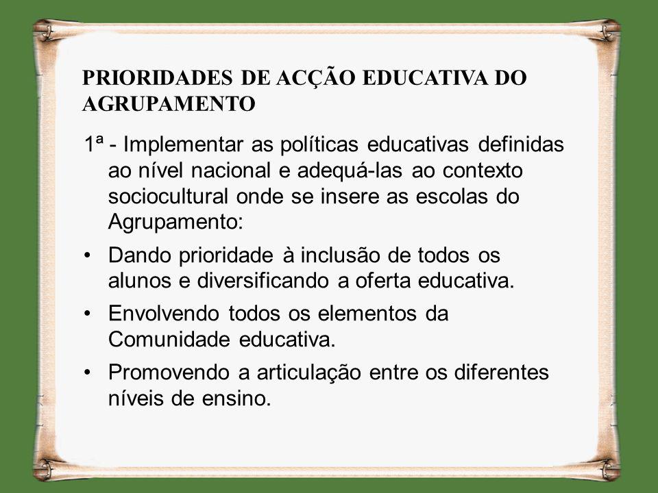 PRIORIDADES DE ACÇÃO EDUCATIVA DO AGRUPAMENTO