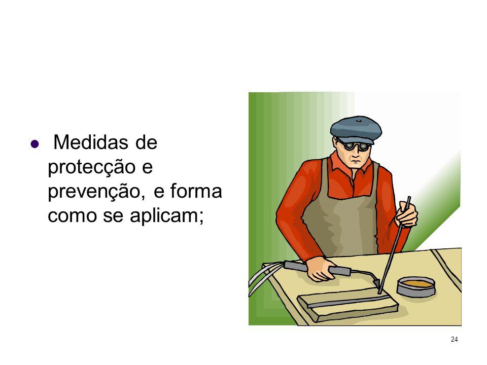 Medidas de protecção e prevenção, e forma como se aplicam;