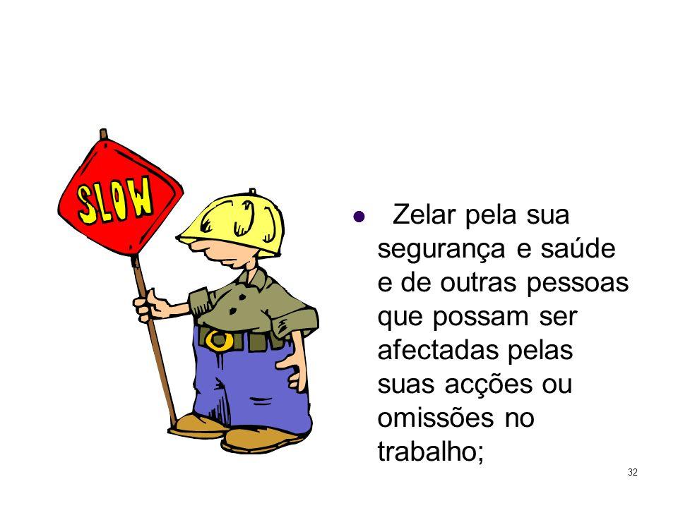 Zelar pela sua segurança e saúde e de outras pessoas que possam ser afectadas pelas suas acções ou omissões no trabalho;