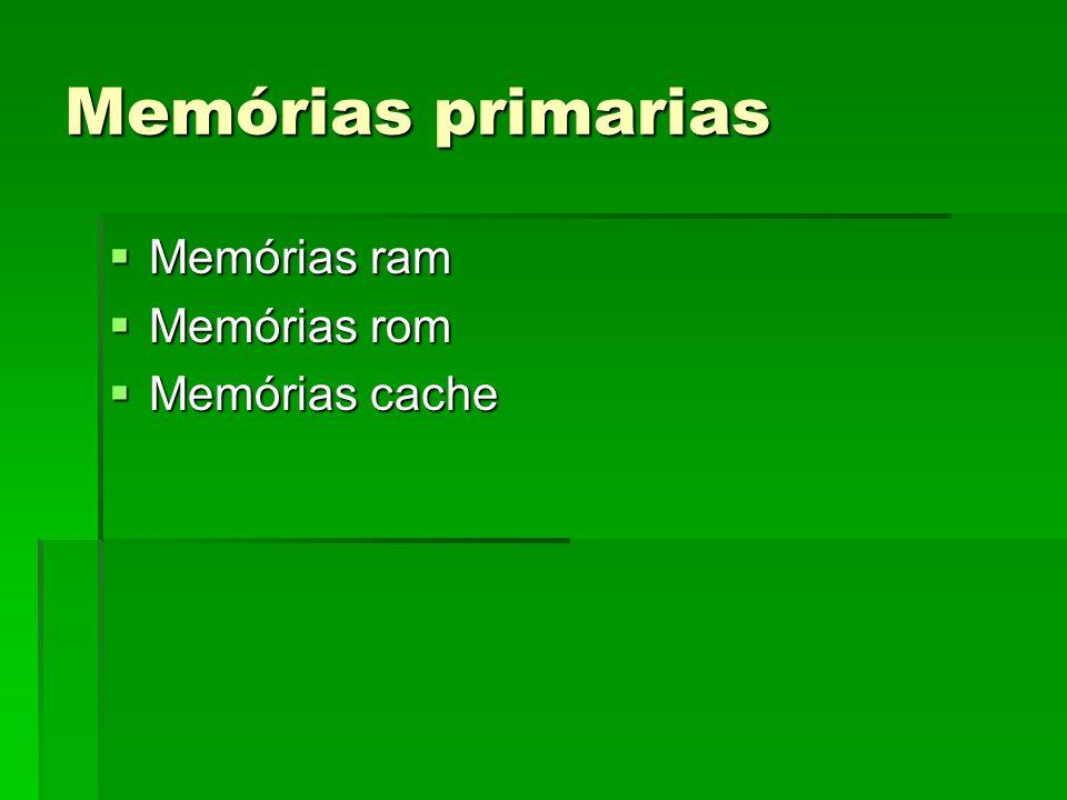 Memórias primarias Memórias ram Memórias rom Memórias cache