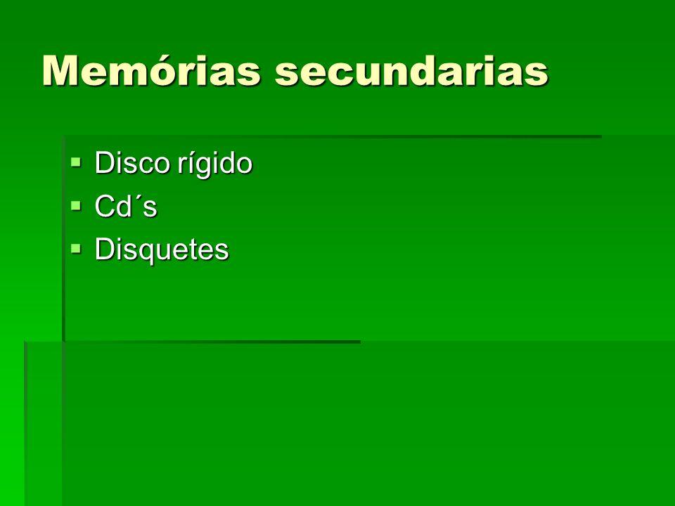 Memórias secundarias Disco rígido Cd´s Disquetes