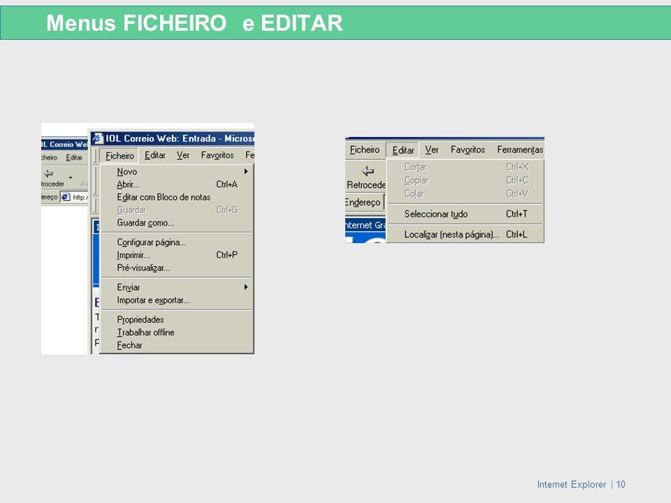 Menus FICHEIRO e EDITAR