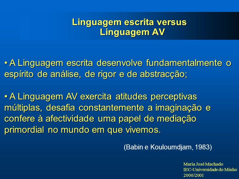 Linguagem escrita versus Linguagem AV