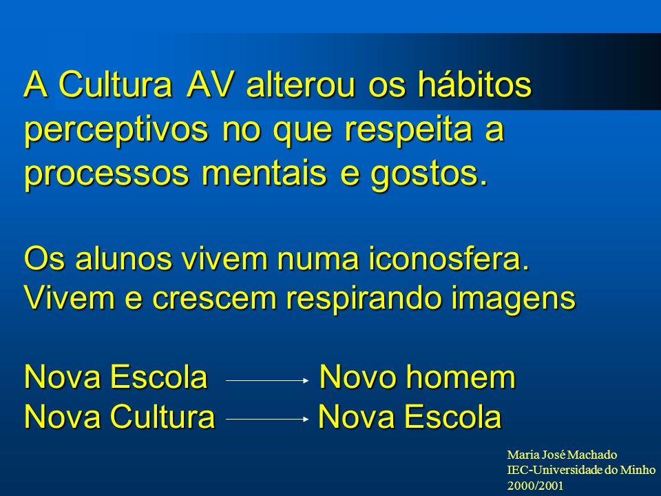 A Cultura AV alterou os hábitos perceptivos no que respeita a processos mentais e gostos.