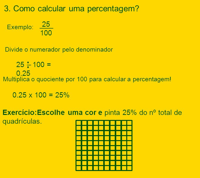 3. Como calcular uma percentagem