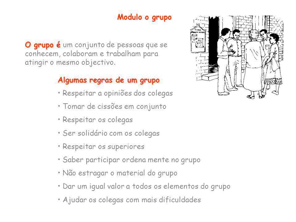 Modulo o grupo O grupo é um conjunto de pessoas que se conhecem, colaboram e trabalham para atingir o mesmo objectivo.