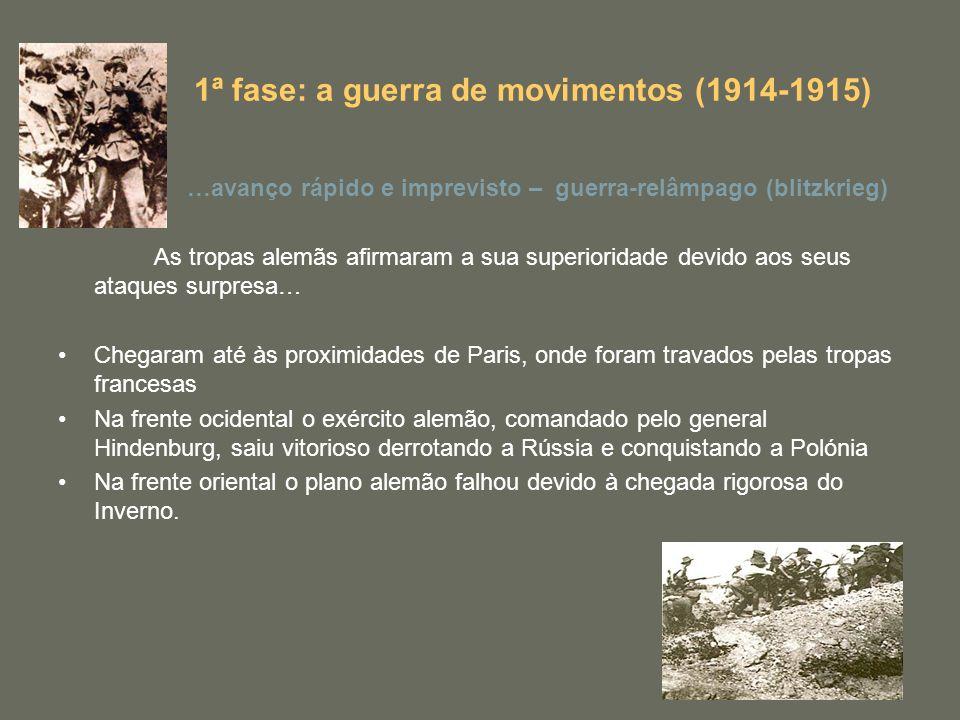 1ª fase: a guerra de movimentos (1914-1915)
