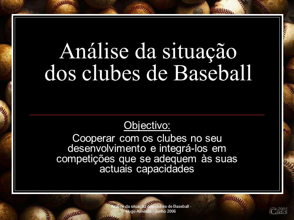 Análise da situação dos clubes de Baseball