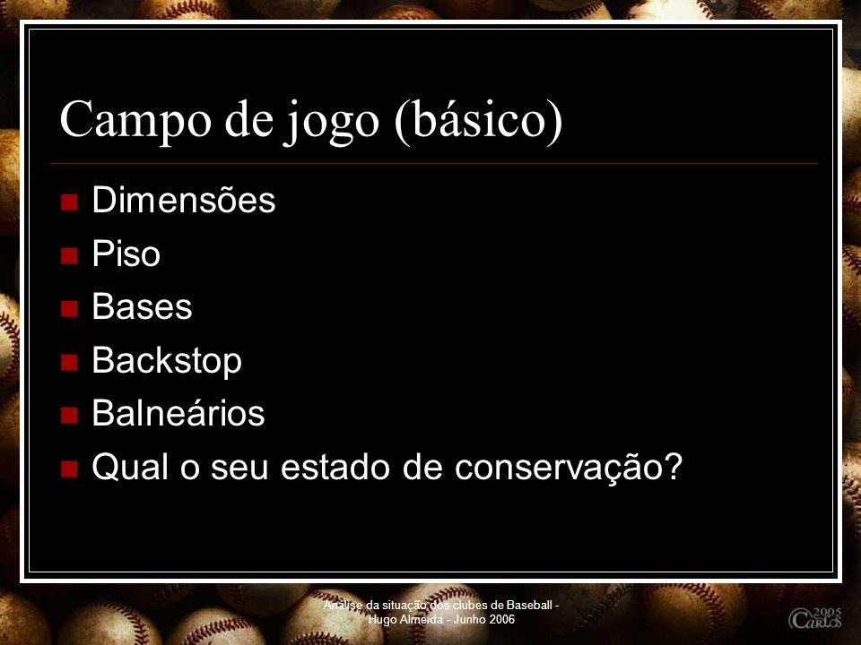 Análise da situação dos clubes de Baseball - Hugo Almeida - Junho 2006