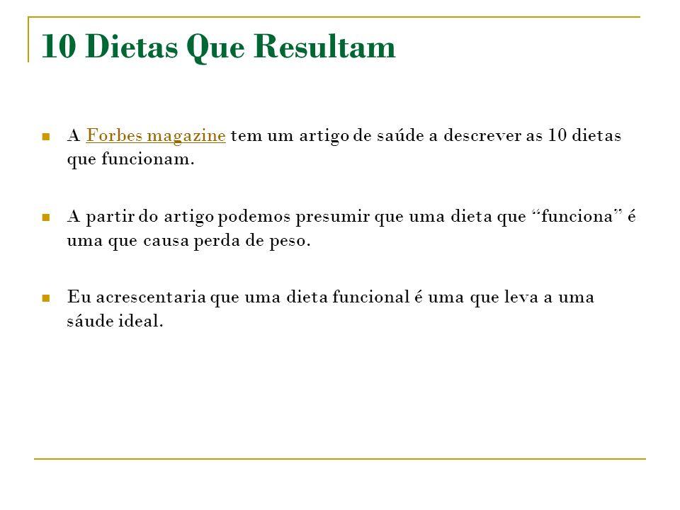 10 Dietas Que ResultamA Forbes magazine tem um artigo de saúde a descrever as 10 dietas que funcionam.