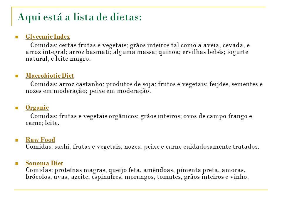 Aqui está a lista de dietas: