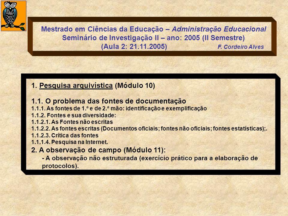 1. Pesquisa arquivística (Módulo 10)