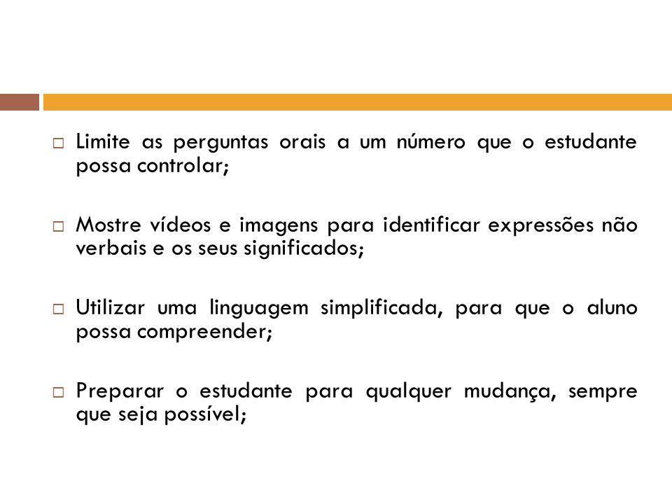 Limite as perguntas orais a um número que o estudante possa controlar;