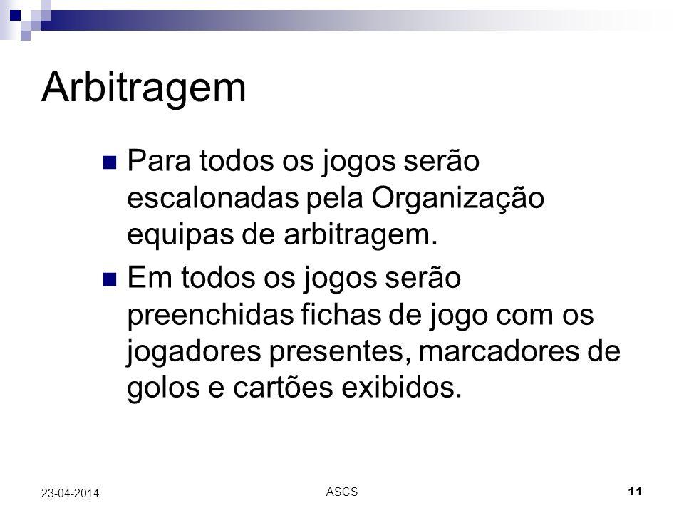 Arbitragem Para todos os jogos serão escalonadas pela Organização equipas de arbitragem.
