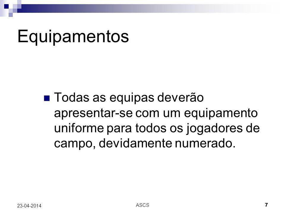 Equipamentos Todas as equipas deverão apresentar-se com um equipamento uniforme para todos os jogadores de campo, devidamente numerado.
