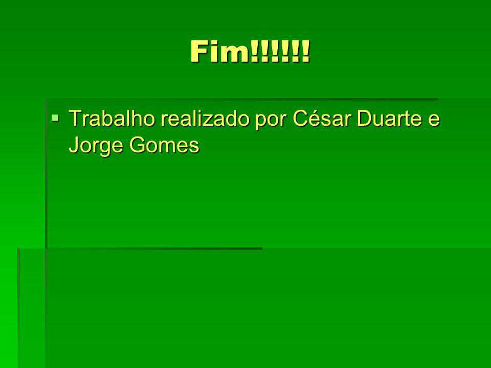 Fim!!!!!! Trabalho realizado por César Duarte e Jorge Gomes