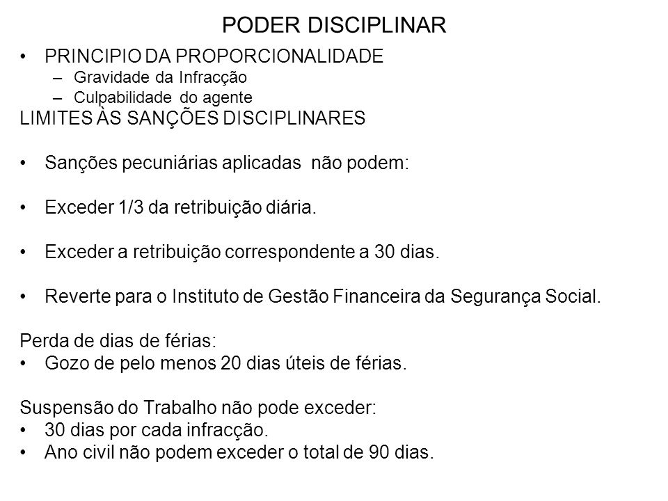 PODER DISCIPLINAR PRINCIPIO DA PROPORCIONALIDADE