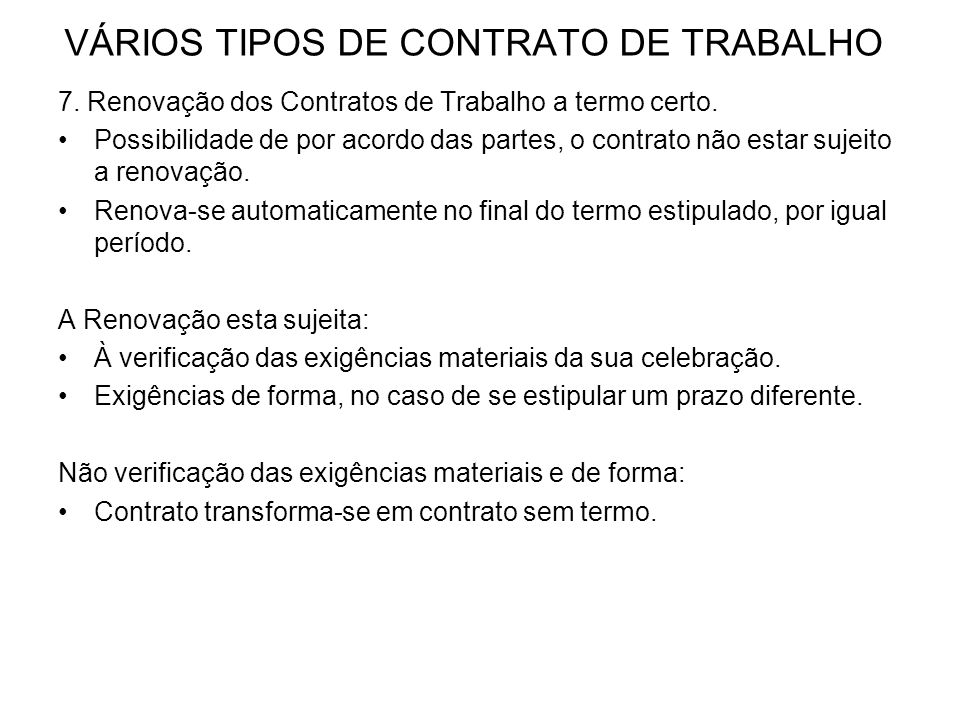 VÁRIOS TIPOS DE CONTRATO DE TRABALHO