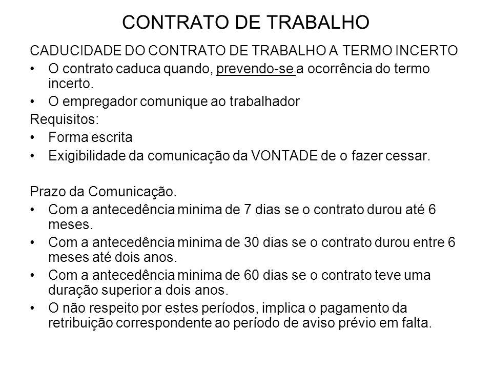 CONTRATO DE TRABALHO CADUCIDADE DO CONTRATO DE TRABALHO A TERMO INCERTO. O contrato caduca quando, prevendo-se a ocorrência do termo incerto.