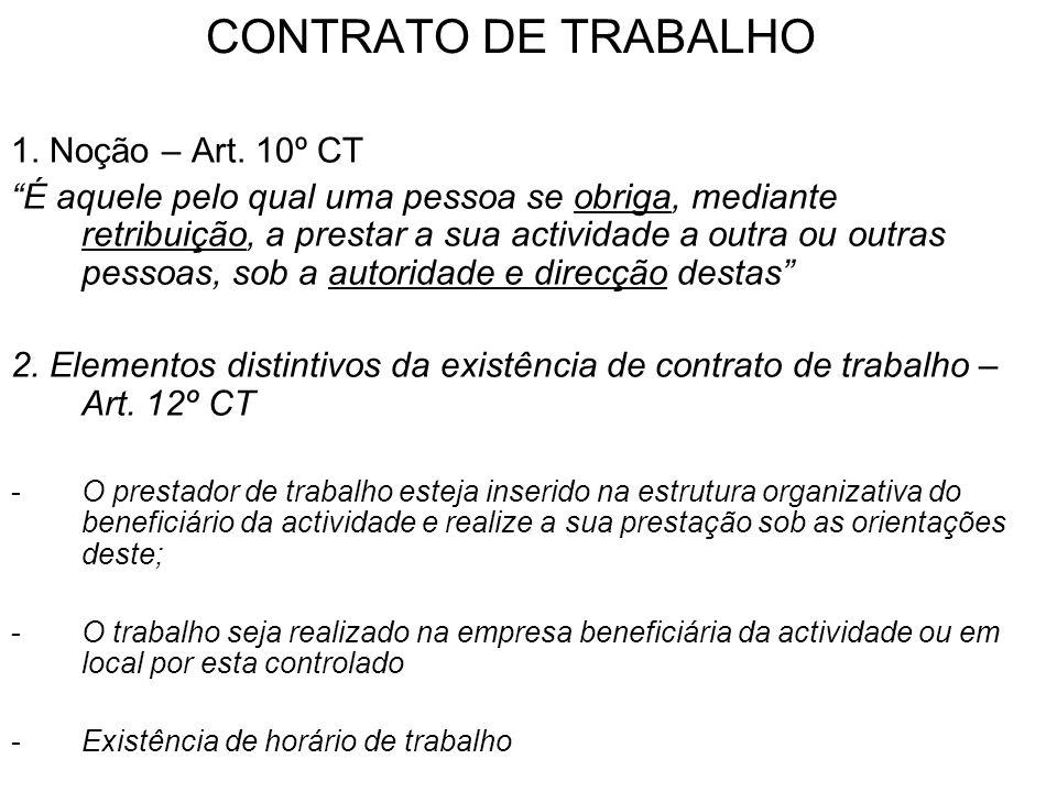 CONTRATO DE TRABALHO 1. Noção – Art. 10º CT