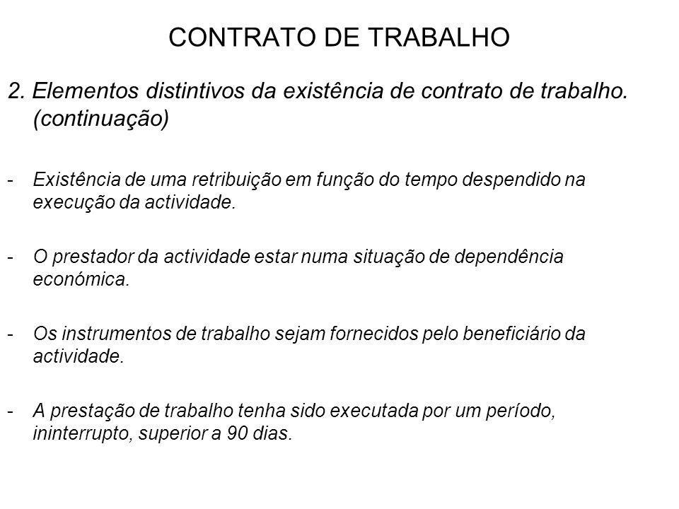 CONTRATO DE TRABALHO 2. Elementos distintivos da existência de contrato de trabalho. (continuação)