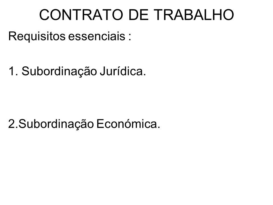 CONTRATO DE TRABALHO Requisitos essenciais : 1. Subordinação Jurídica.