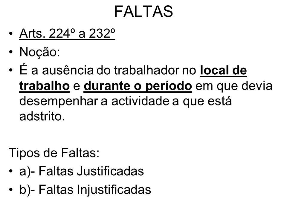 FALTAS Arts. 224º a 232º. Noção: