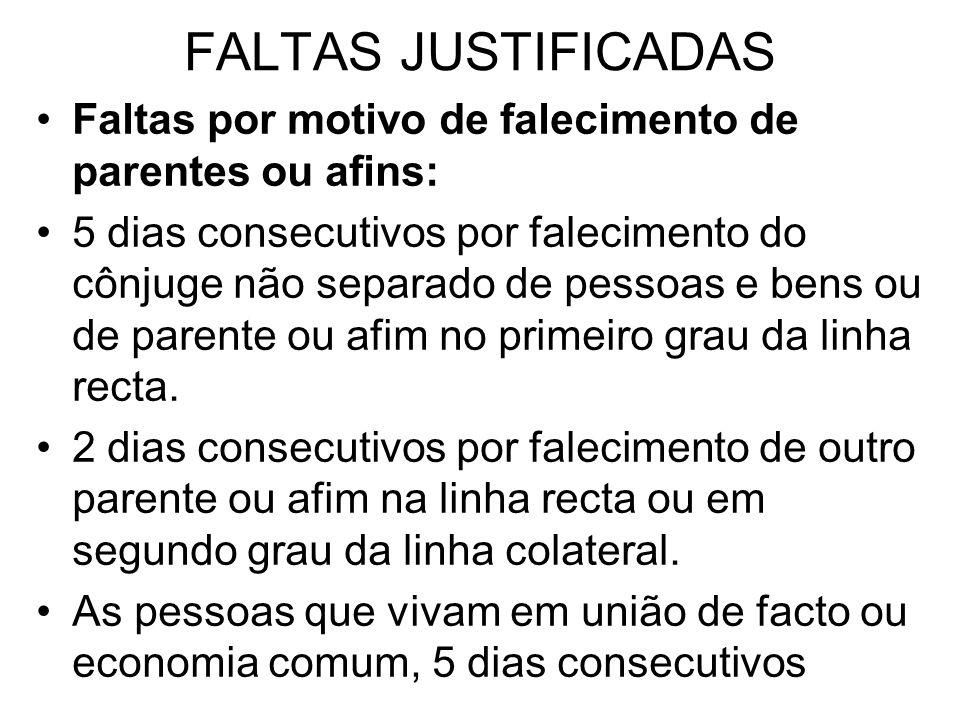 FALTAS JUSTIFICADAS Faltas por motivo de falecimento de parentes ou afins: