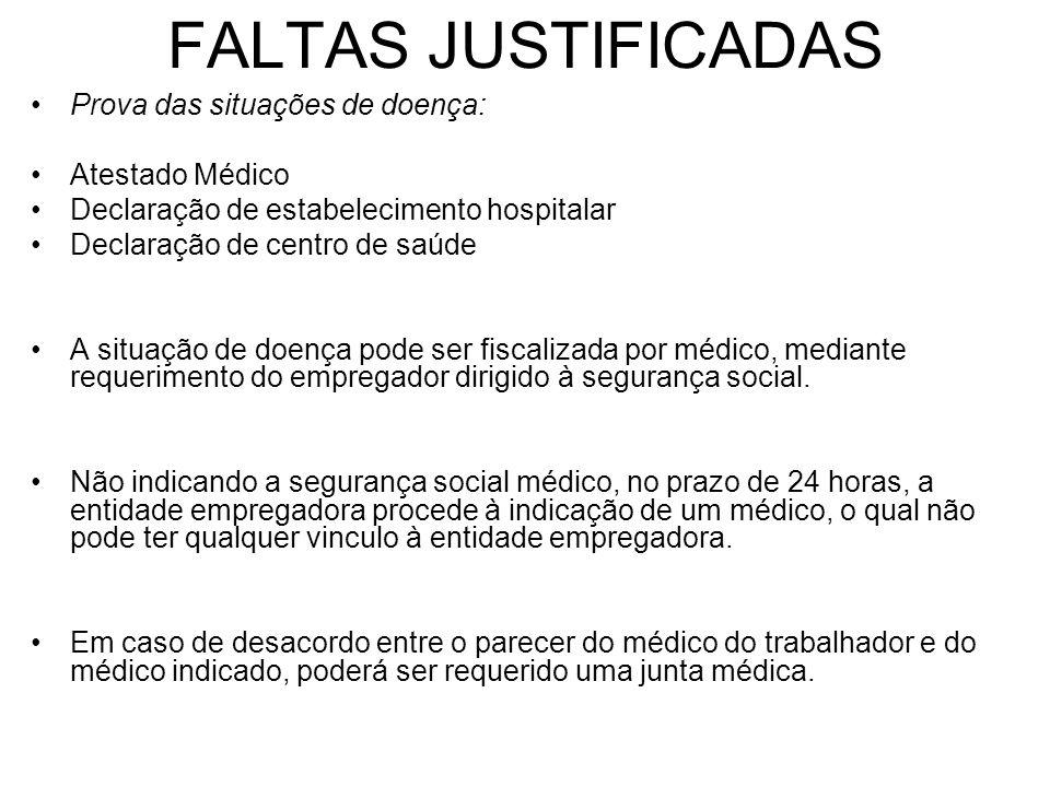 FALTAS JUSTIFICADAS Prova das situações de doença: Atestado Médico