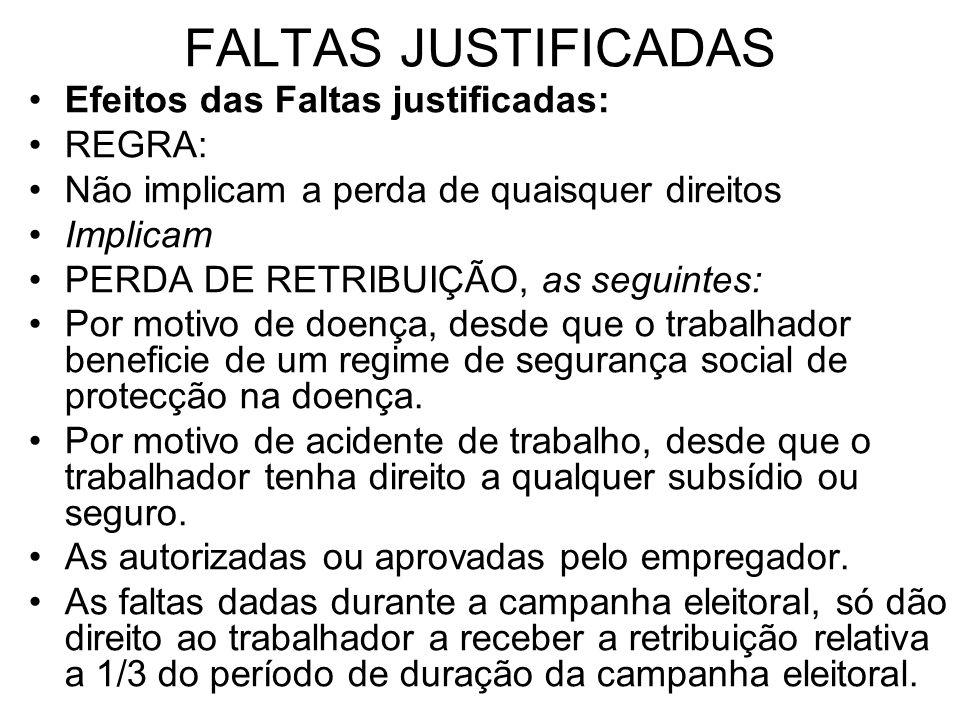 FALTAS JUSTIFICADAS Efeitos das Faltas justificadas: REGRA: