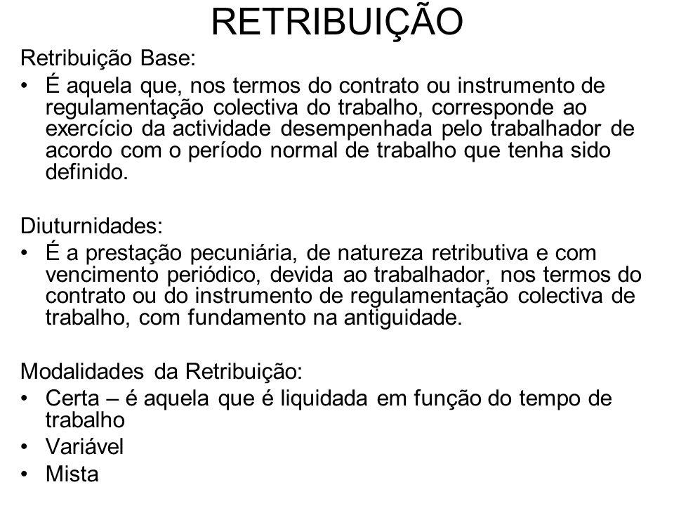 RETRIBUIÇÃO Retribuição Base:
