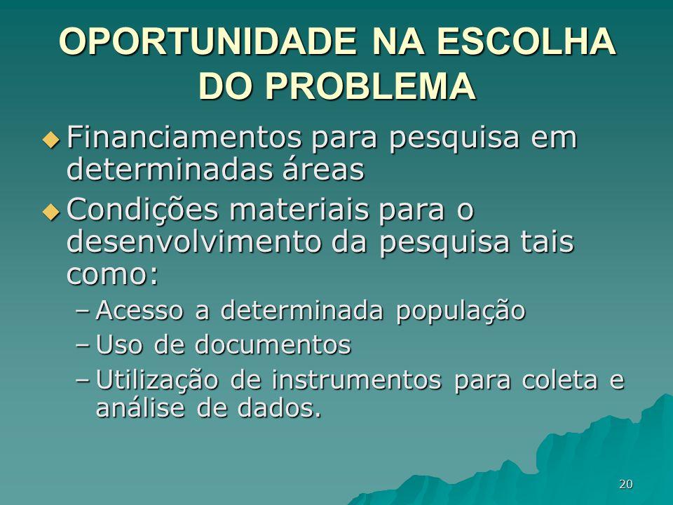 OPORTUNIDADE NA ESCOLHA DO PROBLEMA
