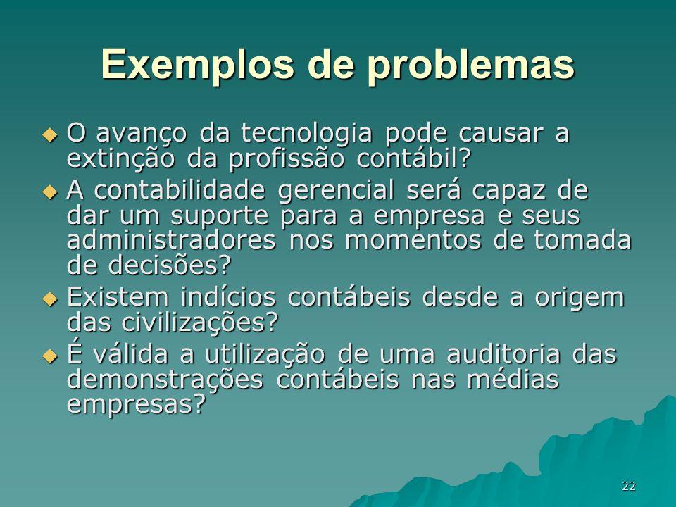 Exemplos de problemas O avanço da tecnologia pode causar a extinção da profissão contábil
