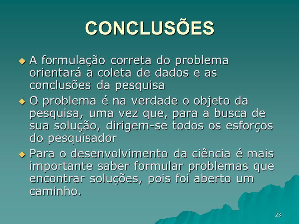 CONCLUSÕES A formulação correta do problema orientará a coleta de dados e as conclusões da pesquisa.