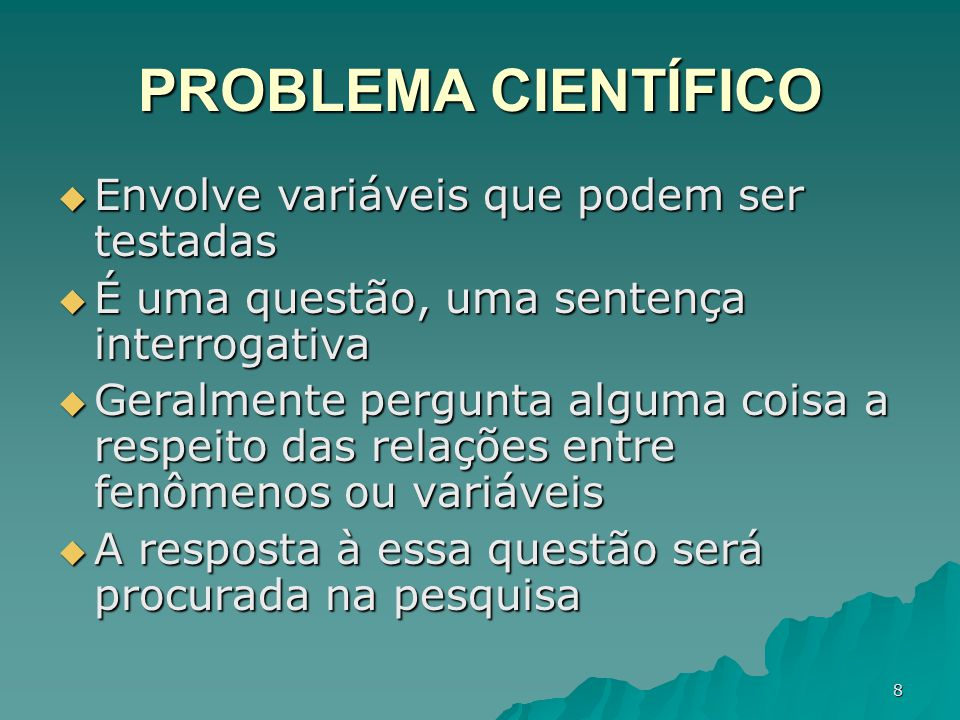 PROBLEMA CIENTÍFICO Envolve variáveis que podem ser testadas