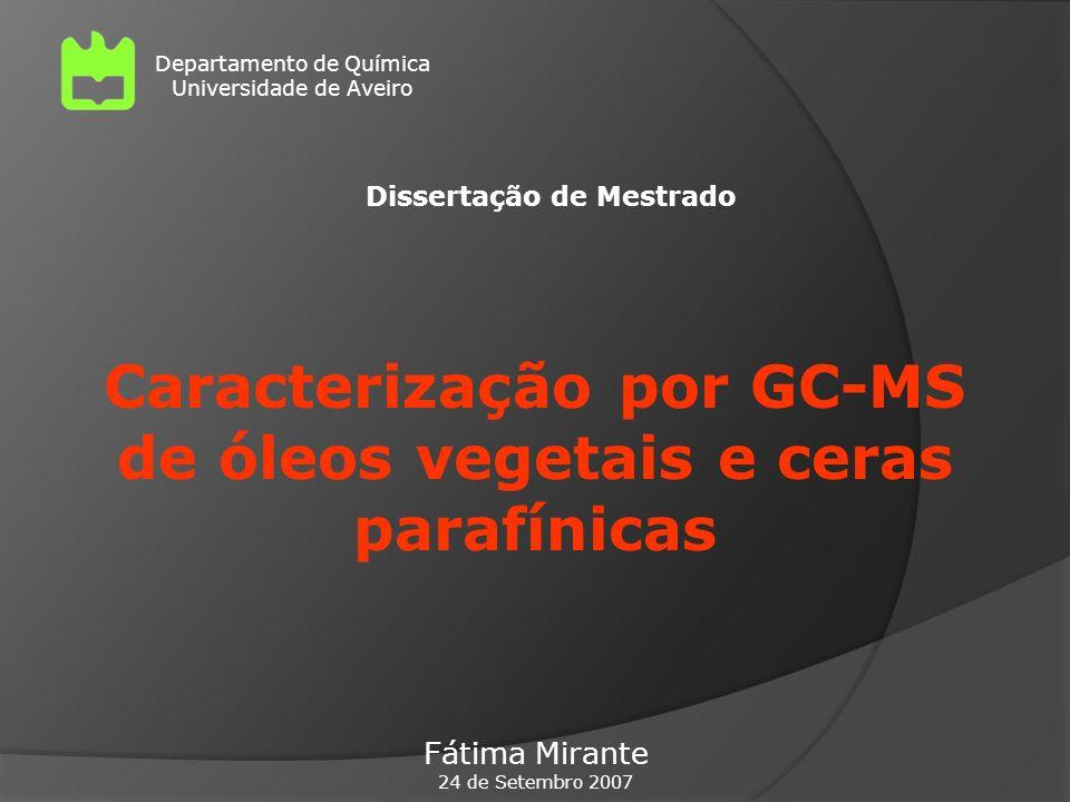 Caracterização por GC-MS de óleos vegetais e ceras parafínicas