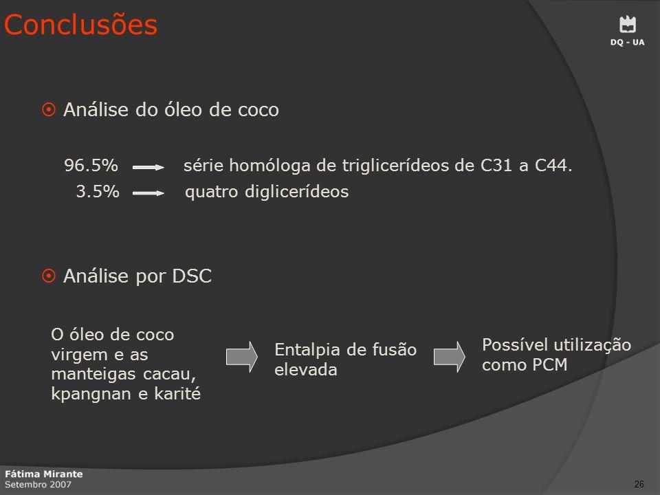 Conclusões Análise do óleo de coco Análise por DSC