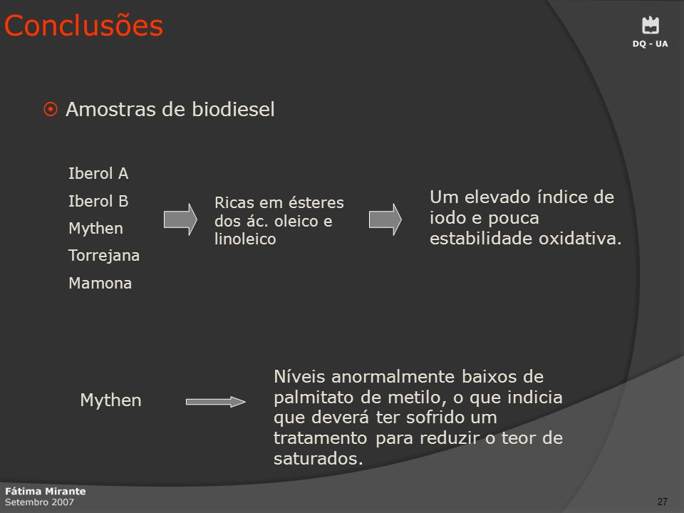 Conclusões Amostras de biodiesel