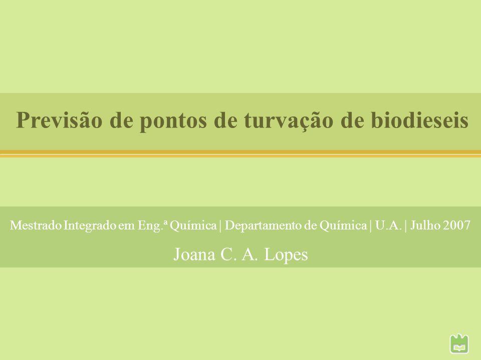 Previsão de pontos de turvação de biodieseis