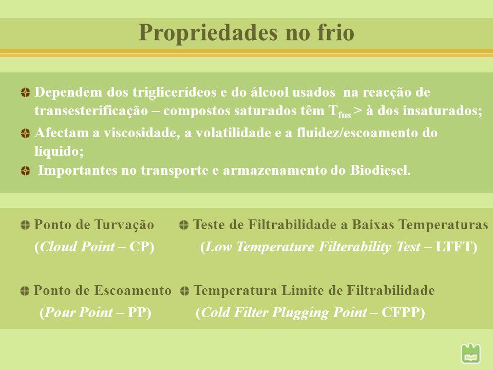 Propriedades no frio Dependem dos triglicerídeos e do álcool usados na reacção de.