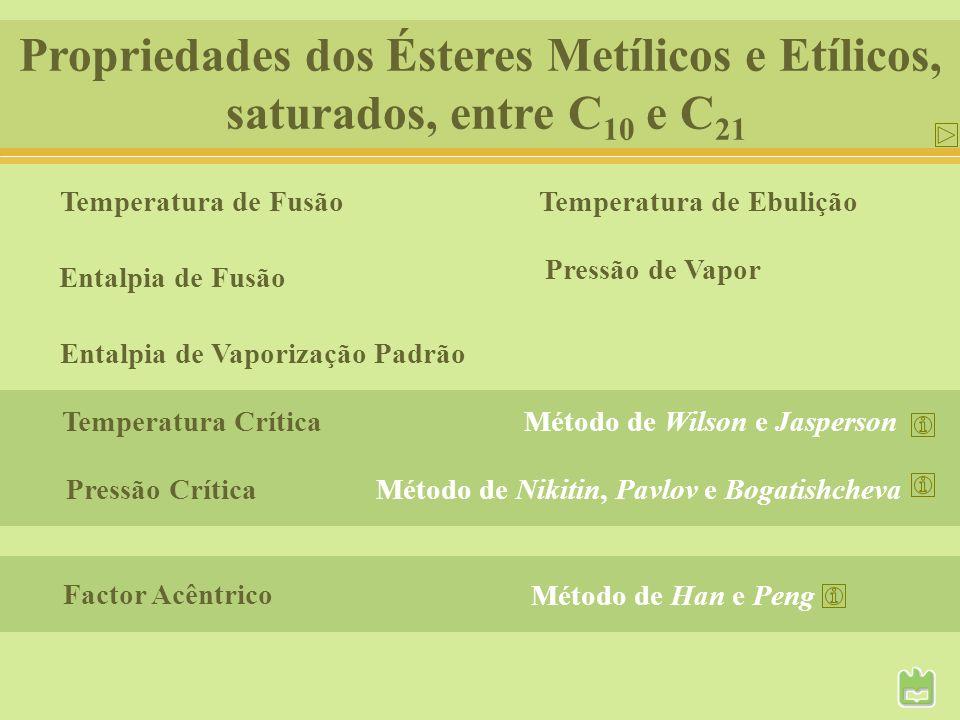 Propriedades dos Ésteres Metílicos e Etílicos,