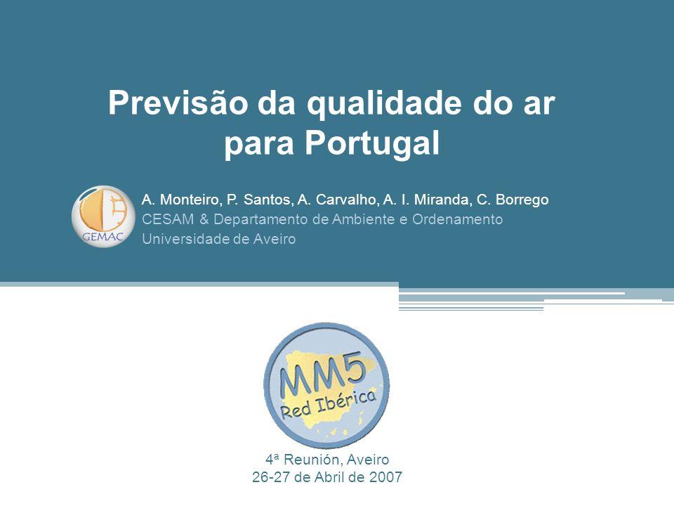 Previsão da qualidade do ar para Portugal